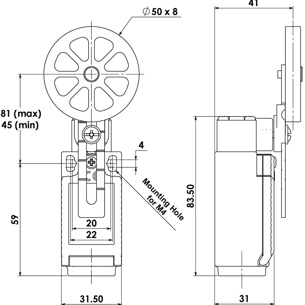 لیمیت سوئیچ فشاری دوطرفه قرقره بزرگ Idem large roller lever (کپی)